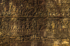 Carvings in the Angkor Wat temple, Cambodia Royalty Free Stock Photo
