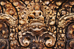 Carvings at Banteay Srei Temple, Angkor, Siem Reap, Cambodia Royalty Free Stock Images