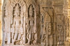 Carvings in Chaumukha temple in Ranakpur, India Stock Photos