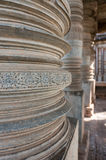 Carvings on columns in Hoysaleshwara Hindu temple, Halebid, Karnataka, India Stock Image