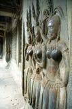 Carvings da parede do ANG Kor Wat foto de stock royalty free