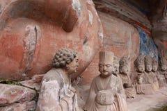 Carvings da rocha da montanha de Dazu Bao Ding Imagem de Stock Royalty Free