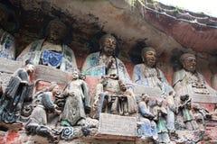 Carvings da rocha da montanha de Dazu Bao Ding imagem de stock