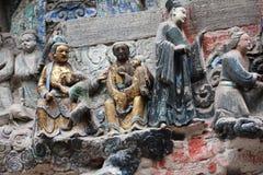 Carvings da rocha da montanha de Dazu Bao Ding imagens de stock