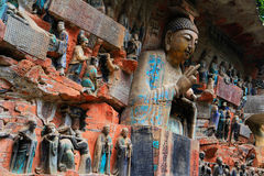 Carvings da rocha de Dazu, chongqing, porcelana fotografia de stock