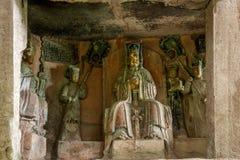 Carvings da rocha de Dazu na ameia confortável de Chongqing Cliff Dongyuetaidi diagenetic Imagens de Stock Royalty Free