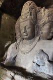 Carvings da rocha nas cavernas de Elephanta Imagem de Stock