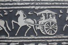Carvings de Han nas paredes no templo chinês fotografia de stock