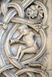 Carvings de pedra por seguidores de Wiligelmo, catedral de Modena, Itália fotografia de stock royalty free