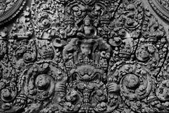 Carvings do elefante de Ganesha em Angkor Wat fotos de stock royalty free
