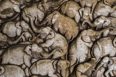 Carvings Elephant Family in The Wood Royalty Free Stock Photos