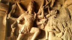 Carvings em cavernas de Ajanta, Índia Imagem de Stock