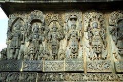 Carvings Halebid, Karnataka, Indien royaltyfria bilder