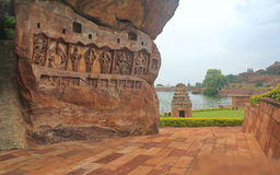 Carvings of hindu gods on a hill, India Stock Images