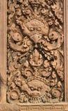 Carvings intrincados Banteay Srei, Camboja Fotografia de Stock Royalty Free