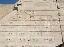Carvings jeroglíficos egípcios na parede imagens de stock