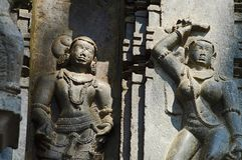 Carvings, Kopeshwar-Tempel, Khidrapur, kolhapur, Maharashtra, Indien stockfotos
