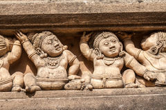 Carvings of Mythical Creatures. Carving of dwarf-like Yakshas at the Kelaniya temple in Sri Lanka Stock Image