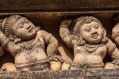 Carvings of Mythical Creatures. Carving of dwarf-like Yakshas at the Kelaniya temple in Sri Lanka Stock Photos