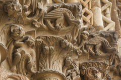 Carvings portrait on the exterior of a gothic church Stock Photography