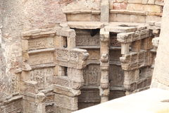 Carvings on stepped well Royalty Free Stock Image
