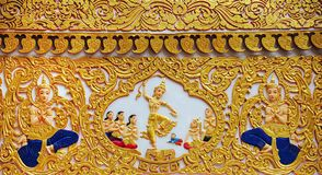 Carvings thai art at wall temple Stock Photos