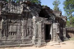 Carvings on the walls of the entrance building of the 12th Century Ta Som temple. Scene around the Angkor Archaeological Park. The site contains the remains of Royalty Free Stock Photos