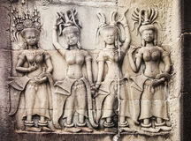 Carvings Of Women At Angkor Wat Stock Images