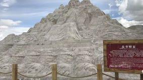 Carvingsna av forntida kines saltar stencarvings är livliga och livliga royaltyfri fotografi
