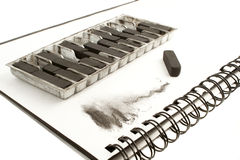 Carvão vegetal de desenho preto Imagens de Stock