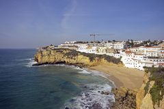 Carvoeiro in the Algarve in Portugal Stock Photos