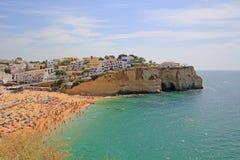 Carvoeiro strand, Portugal Arkivbild