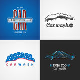 Carwash, car wash set of vector logo, icon, symbol, emblem, sign. Template isolated graphic design elements for business related to cars, automobile, cleaning royalty free illustration