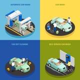 Carwash Concept Icons Set royalty free illustration