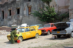 Carwash in Cuba. Traditional car wash in Santiago de Cuba, Cuba Stock Photo