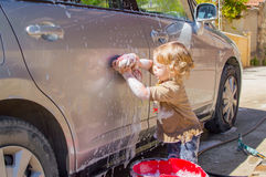 Carwash girl Stock Image