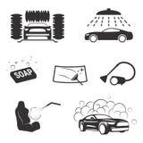 Carwash icons. Set of isolated icons on a theme carwash stock illustration