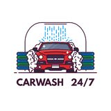 Carwash line style banner. Front view of luxury car on carwash. Clean service banner. Automobile on car wash cleaning. Line style vector illustration royalty free illustration