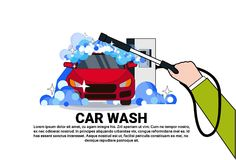 Carwash Service Icon With Cleaning Vehicle On Car Wash Over Copy Space Background. Flat Vector Illustration stock illustration