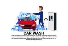 Carwash Service Icon With Worker Cleaning Vehicle Over Copy Space Background. Flat Vector Illustration stock illustration