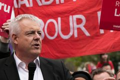 Carwyn Jones speaks to Labour rally, Cardiff, South Wales, UK. stock images