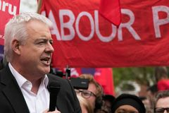 Carwyn Jones speaks to Labour rally, Cardiff, South Wales, UK. stock photography