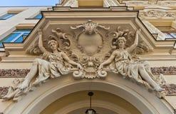 Caryatid figures of August Haertig Palace (1896) in Lodz, Poland Stock Photo
