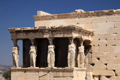 Caryatid porch of the erechtheion Royalty Free Stock Photo