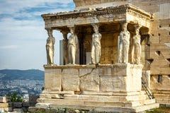 Caryatid Porch of Erechtheion on the Acropolis of Athens stock image