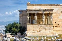 Caryatid Porch of Erechtheion on the Acropolis, Athens stock image