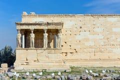 The Caryatid Porch of the Erechtheum, Acropolis, Athens, Greece. royalty free stock image