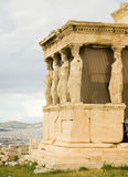 Caryatid Porch of Erechtheum at Akropolis Stock Photos