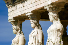 Caryatid sculptures, Acropolis of Athens, Greece Stock Photos