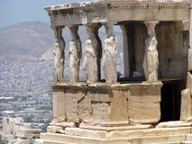 Caryatides古老门廊在上城 免版税库存图片